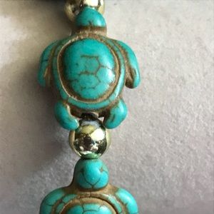 "Jewelry - New 6"" Ceramic Turtle Bead Bracelet"